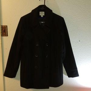 Women's Black XL St. John's Bay Wool Peacoat